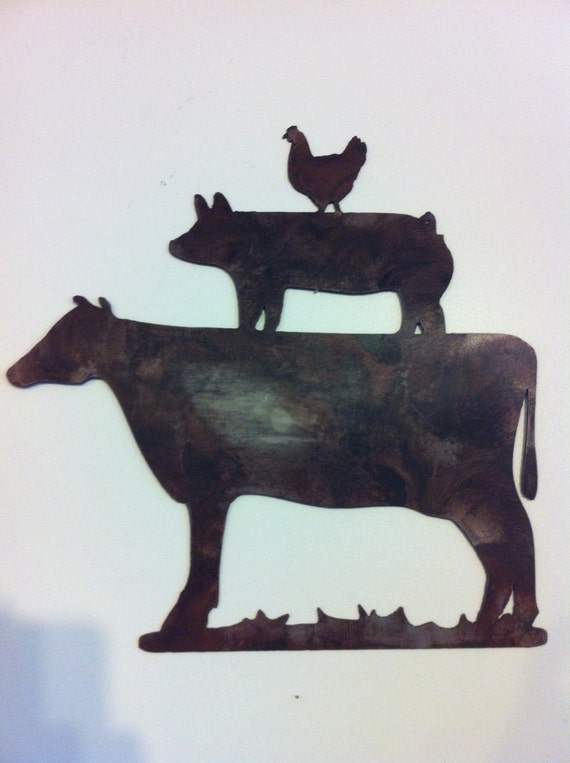 Metal Wall Decor Animals : Kitchen decor metal farm animals chicken pig cow by
