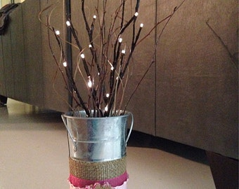 Country, Rustic Centerpieces, wedding, home decor, country wedding, burlap, lighted branches