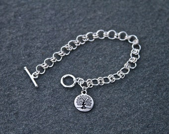 Silver Celtic Bracelet with Small Celtic Tree of Life Charm