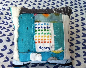 Upcycled selvage pin cushion