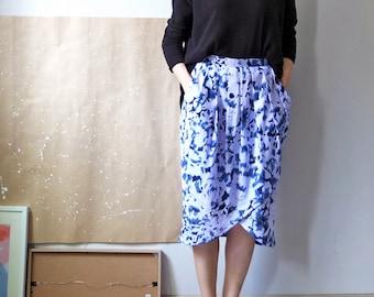 Abstract ethnic ikat print tulip skirt
