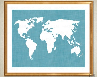 Teal World Map, World Map, Wall Decor, Chic Bedroom Print, Turquoise blue teal aqua decor, bedroom print, map art, teal decor