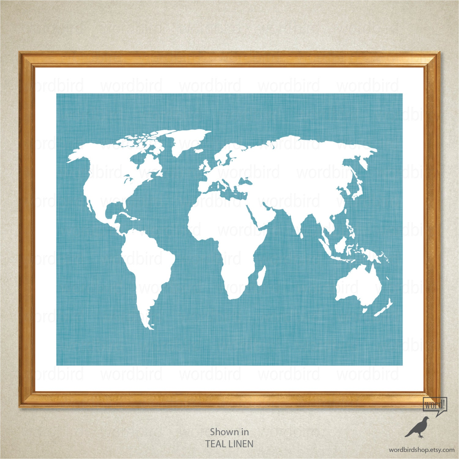 Teal World Map World Map Wall Decor Chic Bedroom By