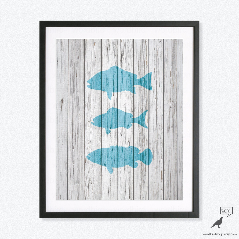 Nautical Decor Print Fish Wall Art Decor Bathroom By