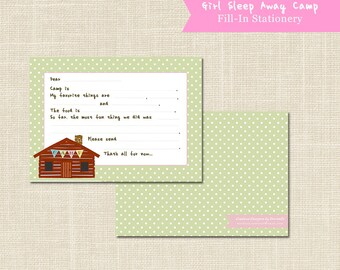GIRLS CAMP STATIONERY, Sleep Away Camp, Fill in the blank, digital file or professional printing available