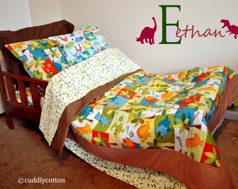 Dinosaur Toddler Bedding # Designer Michael Miller Dino Roars fabric collection