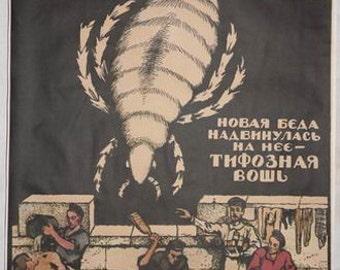 WW1 Red Army new problem typhus louse propaganda poster