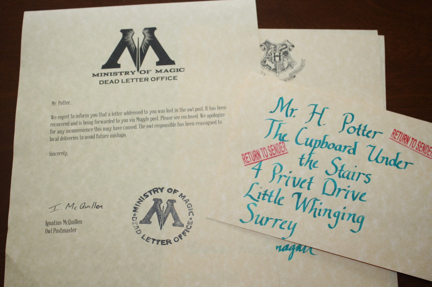 CUSTOM Lost Hogwarts Acceptance Letter From The By