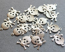250 Silver Brass Skull Charms, Findings (16x12 mm) - Silver Skull Charms, Silver Skull Pendant, Raw Brass Skull Pendant, Brass Skull