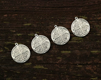 Silver Round Pendants, Round Charms, Brass Findings, 4pcs