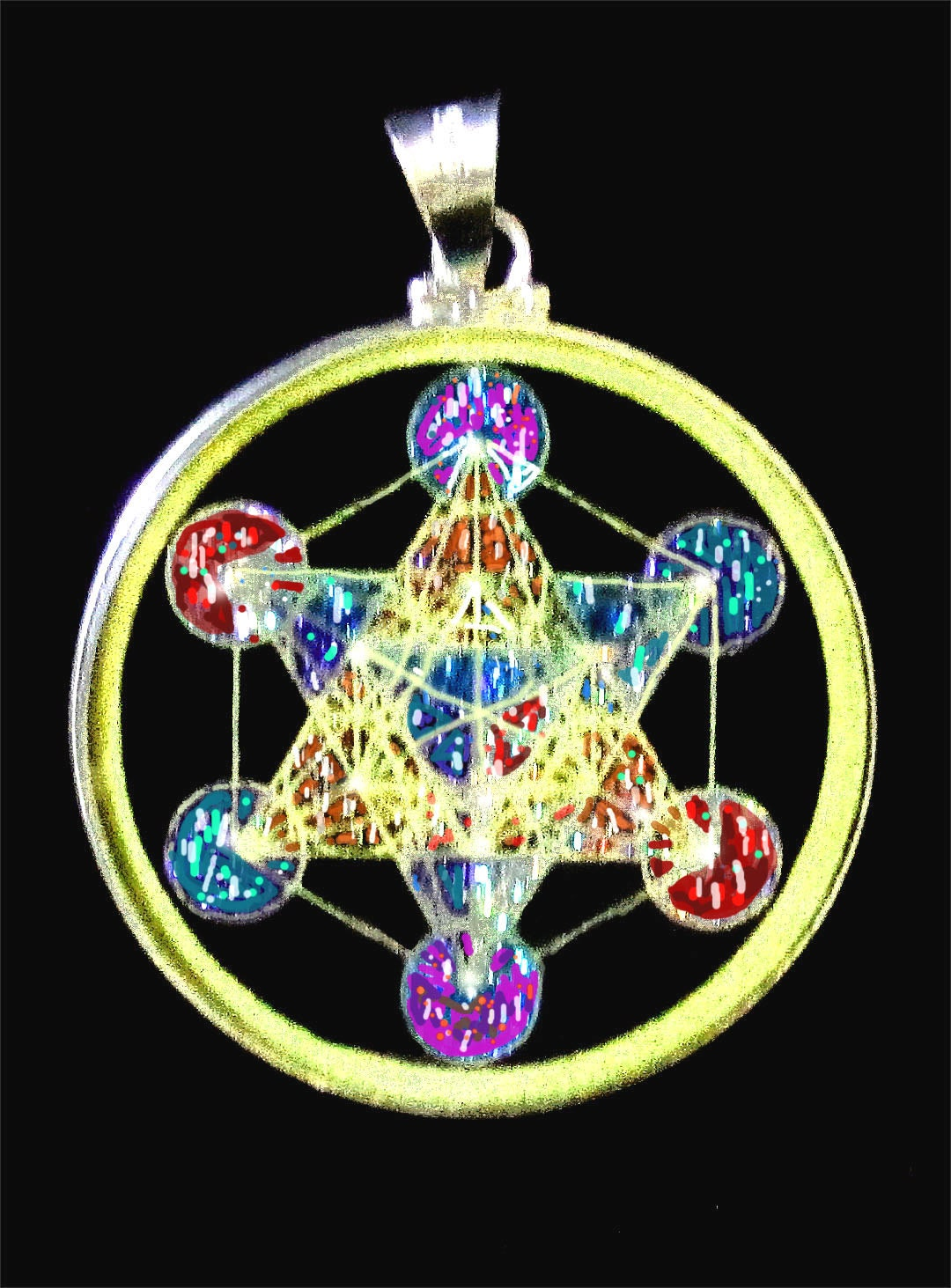Sacred geometry metatrons cube pendant of sparkling cut for Metatron s cube jewelry