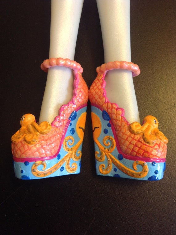 Monster high Lagoona- hand painted custom doll shoes