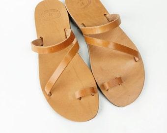 Brown Toe Ring Sandals Greek Handmade Sandals - Women Leather Sandal