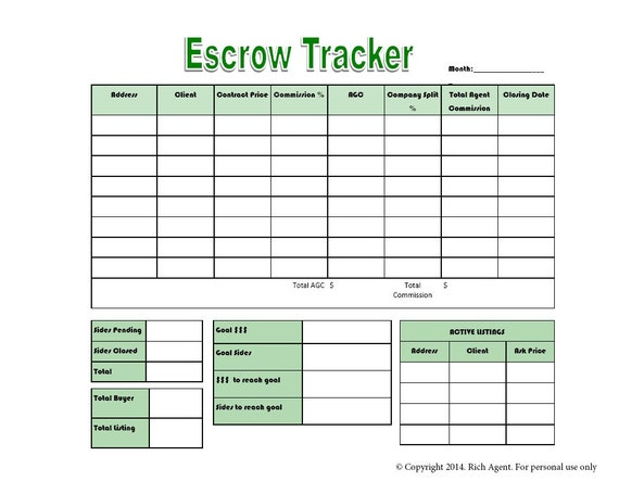 escrow commission tracker tools for real estate by richagent