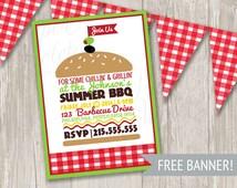 BBQ Invitation, Picnic Invitation with FREE gingham banner
