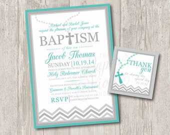 Printable : Baby boy baptism invitations with rosary & FREE matching thank you tag, Chevron Baptism or Christening Invitation | digital file