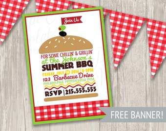 BBQ Invitation, Summer Picnic Invitation, Summer Party Burger Invite with FREE gingham banner