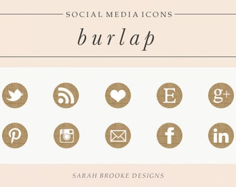 Burlap Social Media Icon Set, Circles