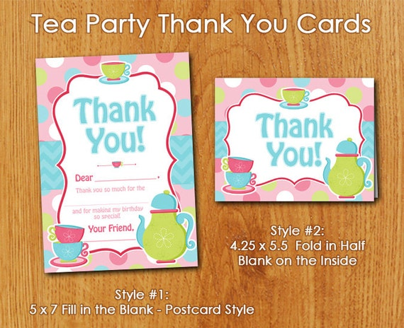 Pink tea party thank you cards instant by feelslikeaparty20