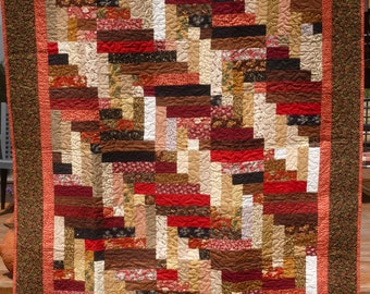 Brown Braided Links Large Lap Quilt    FREE Shipping
