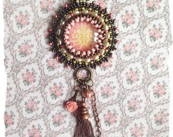 Bead embroidered Vintage look wallpaper pendant