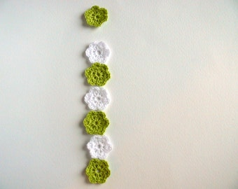 Crochet flower, set of 12, crochet applique,embellishments, Wall Handing, cotton applique, Shabby chic, Scrapbooking,crochet ornaments,cards