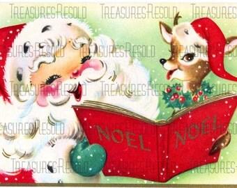 Santa and Reindeer Caroling Christmas Card #38 Digital Download