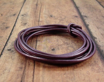 2mm Metallic Purple Leather Cord 2 Yards
