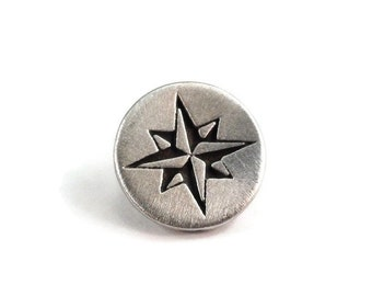 Compass Button Metal Shank 15mm Antique Silver Pewter Star Qty 3