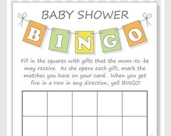 DIY Pennant Baby Shower Bingo Printable Cards - Gender Neutral