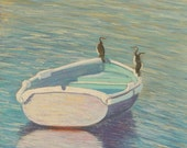 Pastel painting on sanded paper. Bird painting. Boat painting.Seascape painting. Original seascape painting,
