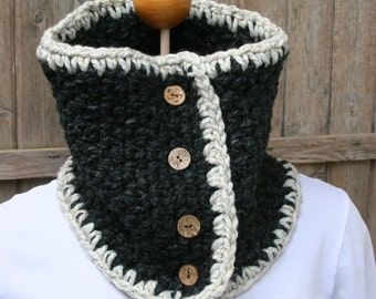 O T T A W A chunky charcol black with cream trim wool blend crocheted neckwarmer cowl scarf with coconut shell buttons