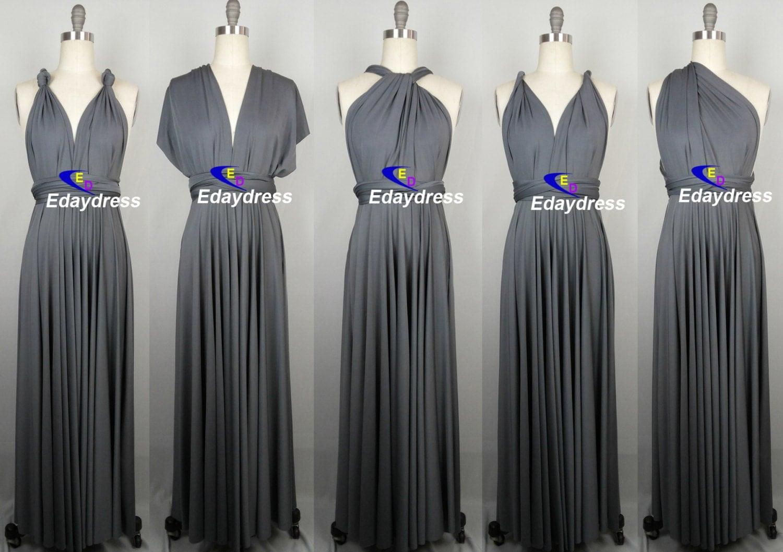 Bridesmaid dress dark gray charcoal grey floor by for Dark grey wedding dresses