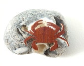jewel brooch crab wood padauk natural gift present ecological
