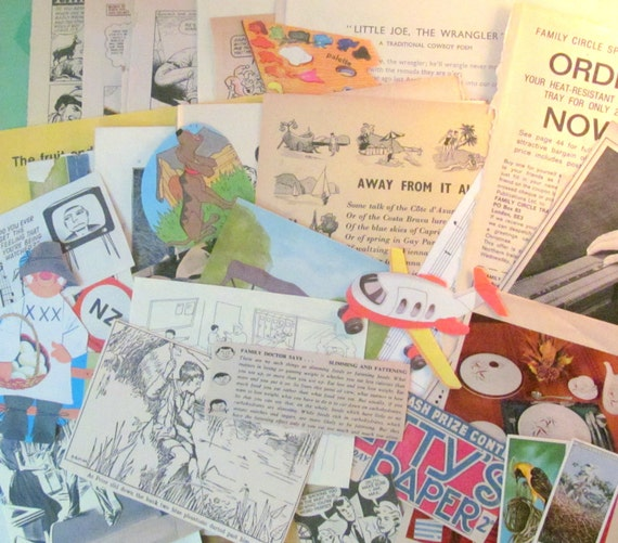 Collage paper pack: lot of 50 pieces of vintage paper ephemera for paper craft, upcycling, scrapbooking. 1930s - 1980s from the UK.