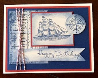 Nautical Handmade Birthday Card, The Open Sea, Masculine Birthday Card