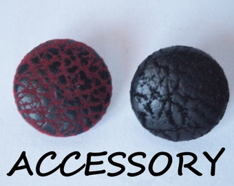 Faux leather red or black fabric covered buttons (adjustable ring, earrings, shoe clips, and brooch)