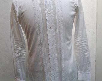 Vtg Embroided mens formal shirt