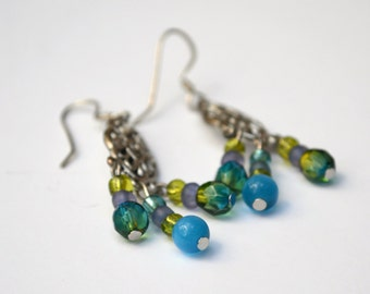 Blue Drop Earrings, Dangle Earrings, Gifts for her, Beaded Earrings, Hypo Allergenic Earrings