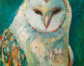 Magical Snowy Owl Acrylic Painting 9x12 Emerald background
