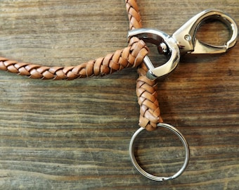 Handmade 6 strand braided leather wallet chain in natural tone