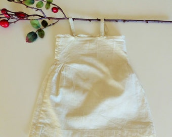 Old Cotton Dress for Antique Doll. Dress with Lace.  Cream color.  Delicate and original. Antique bisque dolls.