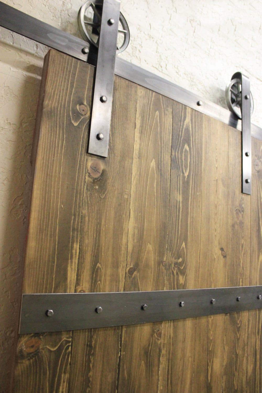 vintage classic sliding barn door hardware raw steel on sale. Black Bedroom Furniture Sets. Home Design Ideas