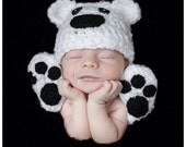 Baby Polar Bear Hat, Winter, Fall, MADE TO ORDER