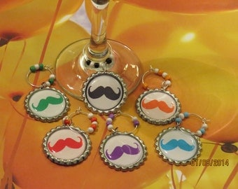 Mustache Wine Charms (2) - Set of 6