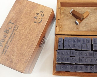 Full schoolbook alphabet wooden stamp set - Uppercase letters, lowercase letters, numbers & symbols 70 pieces in wooden box