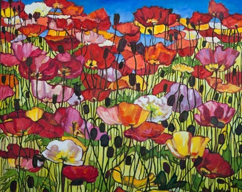 Happy poppies Oil Painting ORIGINAL Artwork Floral Wall Decor Wall Hanging Art 72×60cm