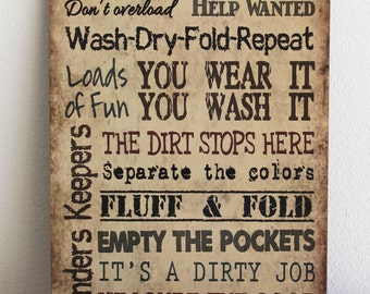 LAUNDRY ROOM Rules Primitive Wood Sign Housewarming Gift Country Signs Tan Plaque