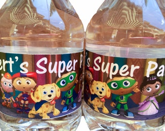 Super Why Water Labels - Digital Printable File