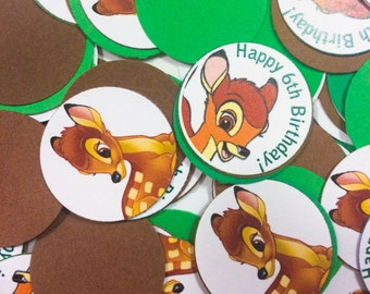 Bambi Disney Green and Brown Confetti